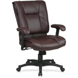 Office Star EX9381 Deluxe Executive Mid-Back Chair - Leather Burgundy Seat - Black Frame - 5-star Ba OSPEX93814