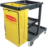 "Rubbermaid Janitor Cart With Zipper Yellow Vinyl Bag - 3 Shelf - 4"", 8"" Caster Size - 21.8"" Width x  RCP617388"