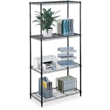 "Safco Commercial Wire Shelving - 48"" x 18"" x 72"" - 4 x Shelf(ves) - 500 lb Load Capacity - Leveling  SAF5241BL"