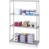 "Safco Industrial Wire Shelving - 48"" x 18"" x 72"" - 4 x Shelf(ves) - 4000 lb Load Capacity - Gray - P SAF5291GR"