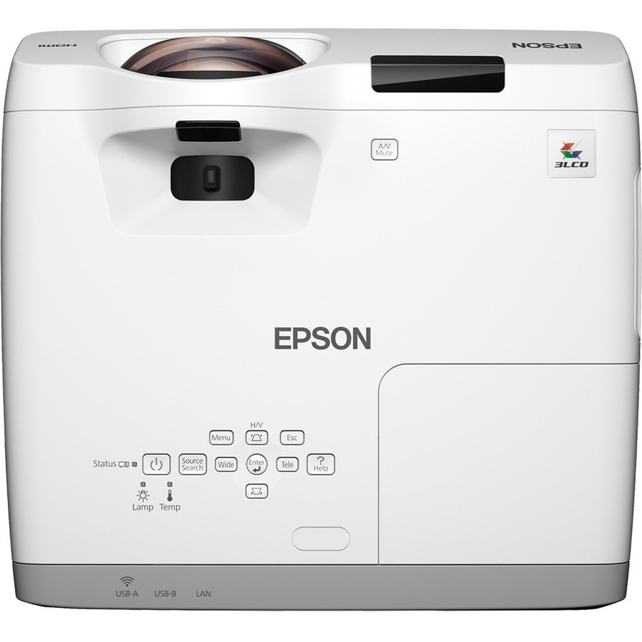 Epson EB-530 Short Throw LCD Projector - 4:3 - 1024 x 768 - Front - 5000 Hour Normal Mode - 10000 Hour Economy Mode - XGA - 16,000:1 - 3200 lm - HDMI - USB - Wireles