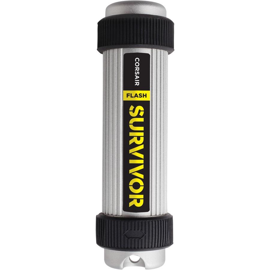 Corsair Flash Survivor 64 GB USB 3.0 Flash Drive - Silver, Black