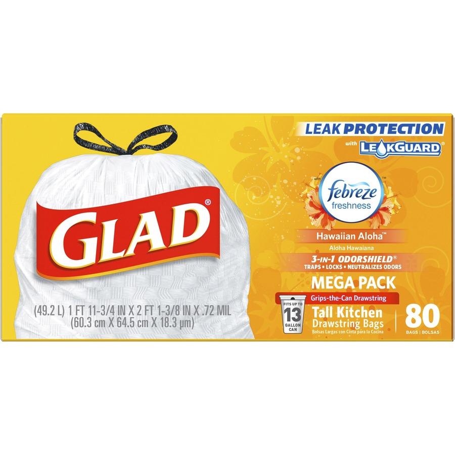 Glad OdorShield Tall Kitchen Drawstring Trash Bags - 13 gal