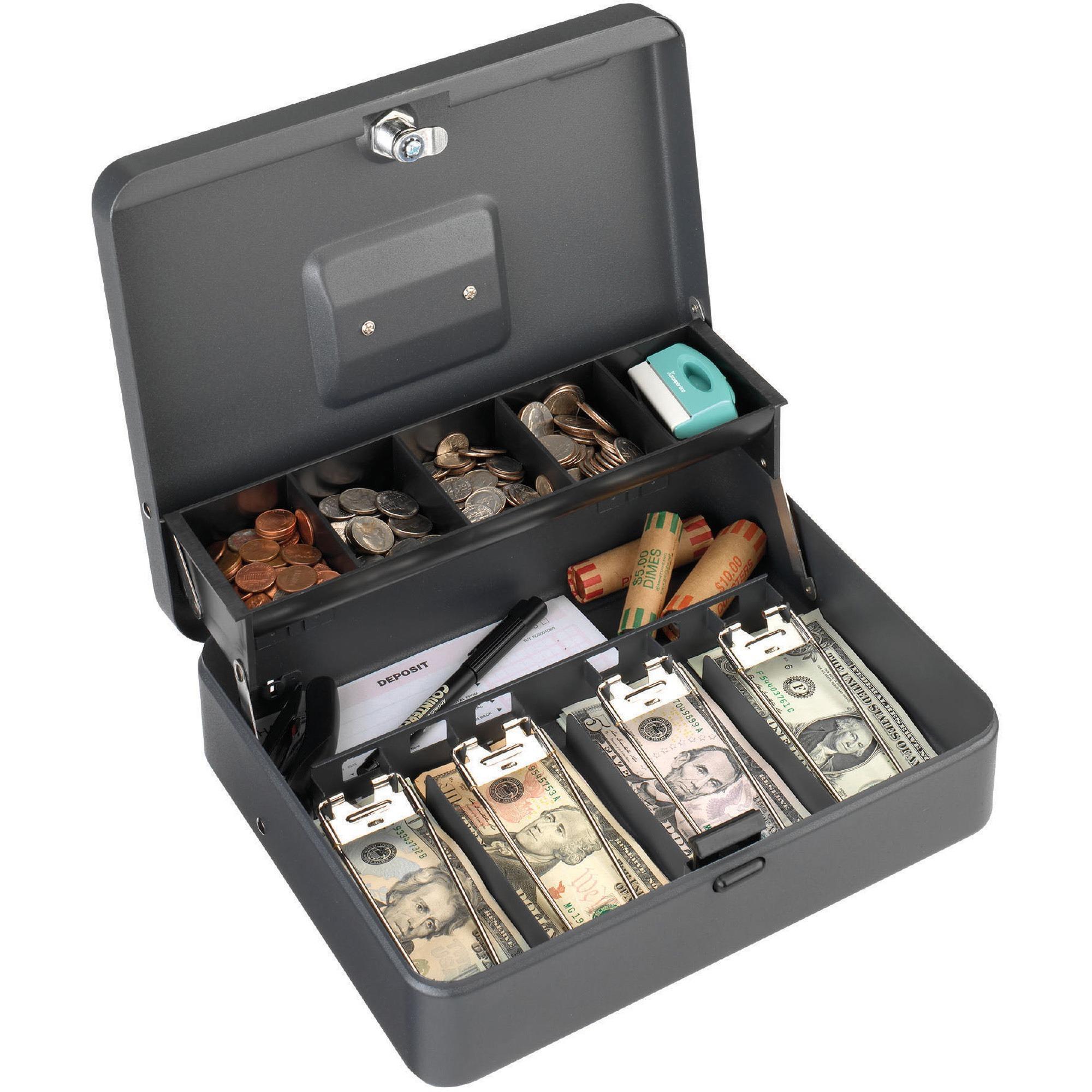 "Steelmaster Tiered Tray Cash Box - 4 Bill - 5 Coin - Steel - Gray - 3.2"" Height x 11.8"" Width x 9.4"" Depth"