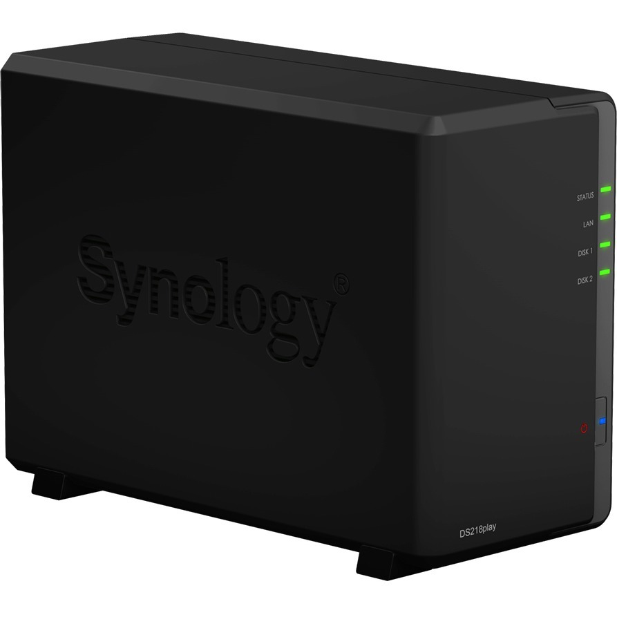 Synology DiskStation DS218play 2 x Total Bays SAN/NAS Storage System - Desktop - Realtek RTD1296 Quad-core 4 Core 1.40 GHz - 2 x 1TB WD Red