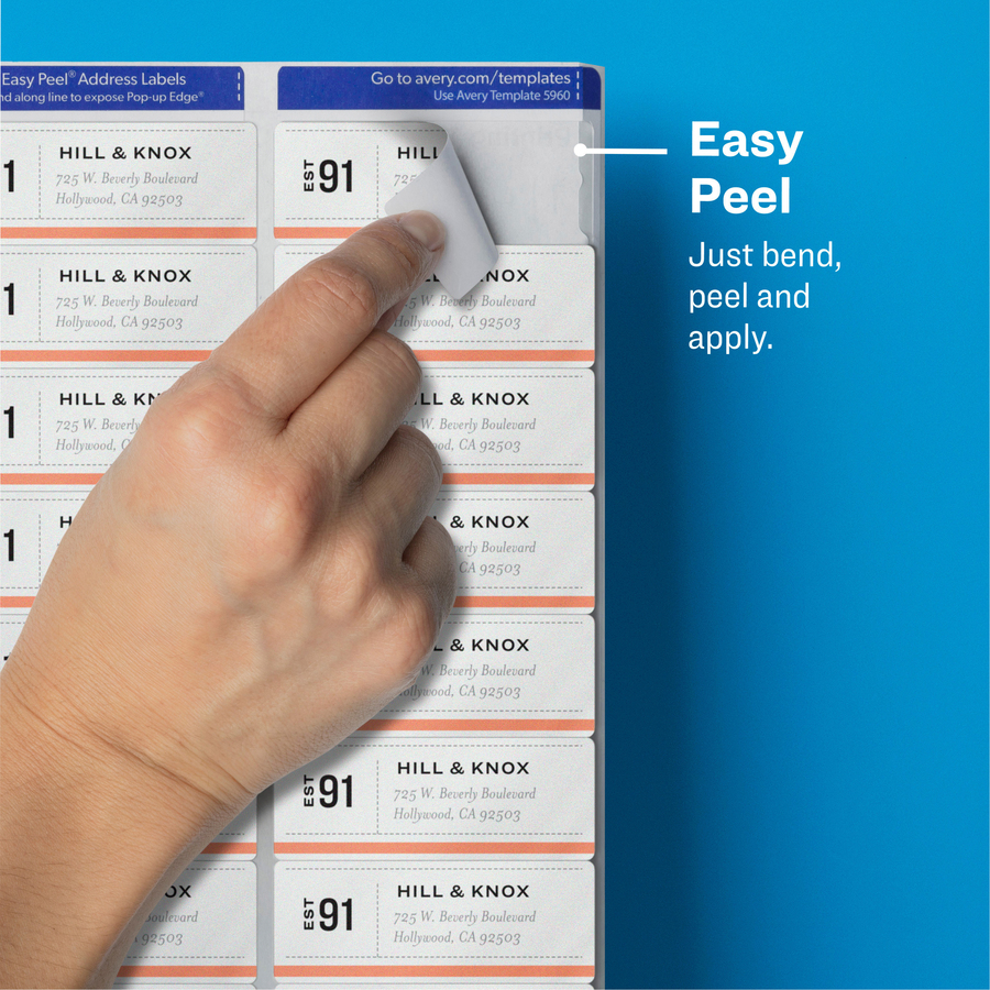 avery easy peel address labels with sure feed technology avery easy peel address labels sure feed technology 1 x 2 58 5960