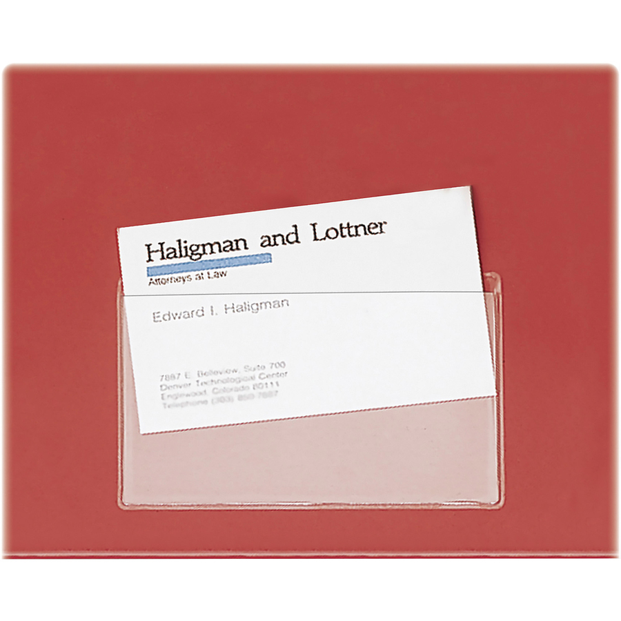 Cardinal 21500cb cardinal holdit 21500cb business card pocket business card pockets 24 x 38 poly 10 pack clear colourmoves