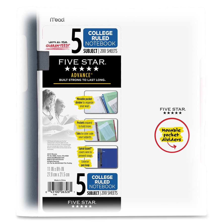Five Star Advance Wirebound Notebook, College Ruled, 5-Subject - 200 Sheets