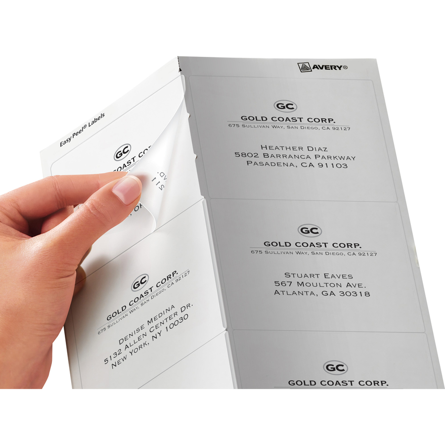 avery matte clear easy peel shipping labels icc business products