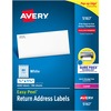 "Avery® Easy Peel Return Address Labels - Sure Feed - Permanent Adhesive - 1/2"" Width x 1 3/4"" Length - Rectangle - Laser - White - 80 / Sheet - 80"