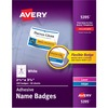"Avery® Premium Name Tags, 2-1/3"" x 3-3/8"" , 400 Adhesive Tags (5395) - 2.33"" Height x 3.38"" Width - Rectangle - Laser, Inkjet - White - Film - 8 /"