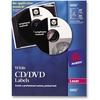 Avery® White CD Labels with 80 Spine Labels - Permanent Adhesive Length - Round - Laser - White - 4 / Sheet - 40 / Pack