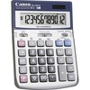 "Canon HS-1200TS 12-Digit Angled Display Calculator - 12 Digits - LCD - Battery/Solar Powered - 1.4"" x 4.8"" x 6.7"" - Black, White - 1 Each"