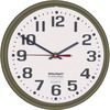 SKILCRAFT Slimline Wall Clock - Analog - Quartz - White Main Dial - Bronze/Plastic Case