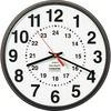 SKILCRAFT 12/24 Hour Wall Clock - Analog - Quartz - White Main Dial - Brown/Plastic Case