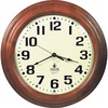 SKILCRAFT Hardwood Wall Clock - Analog - Quartz - White Main Dial - Mahogany/Hardwood Case