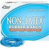 """Alliance Rubber 42199 Non-Latex Rubber Bands with Antimicrobial Protection - Size #19 - 1/4 lb. box contains approx. 360 bands - 3 1/2"""" x 1/16"""" - Cyan"""