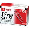 "Acco Paper Clips - No. 3 - 0.9"" Length - 10 Sheet Capacity - Galvanized, Corrosion Resistant - Silver - Metal, Zinc Plated"