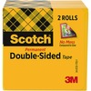 "Scotch Permanent Double-Sided Tape - 1/2""W - 25 yd Length x 0.50"" Width - 1"" Core - Acrylate - 3 mil - Permanent Adhesive Backing - 2 / Pack - Clear"