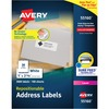 """Avery® Repositionable Address Labels - 1"""" Height x 2.63"""" Width - Rectangle - Laser - White - Paper - 30 / Sheet - 100 Total Sheets - 3000 Total La"""