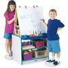 Jonti-Craft Rainbow Accents 2 Station Art Center - Freckled Gray, Teal Stand - Floor Standing - Assembly Required - 1 Each
