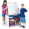 Jonti-Craft Rainbow Accents 2 Station Art Center - Freckled Gray, Purple Stand - Floor Standing - Assembly Required - 1 Each