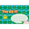 """Trend You did it Cheerful Frogs Recognition Awards - """"You did it!"""" - 8.50"""" x 5.50"""" - Multicolor - 1 Pack"""