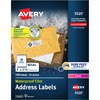 "Avery® Waterproof Labels, Sure Feed, 1"" x 2-5/8"" , 1,500 Labels (5520) - 1"" Height x 2 5/8"" Width - Rectangle - Laser - White - Film - 30 / Sheet"
