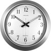 "Artistic 16"" Galvanized Metal Round Wall Clock - Analog - White Main Dial - Silver/Metal Case"