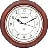 "Lorell 13-1/4"" Round Wood Wall Clock - Analog - Quartz - White Main Dial - Mahogany/Wood Case"