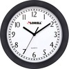 "Lorell 9"" Round Profile Wall Clock - Quartz - White Main Dial - Black/Plastic Case"