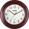 "Lorell 13-1/4"" Woodgrain Wall Clock - Quartz - White Main Dial - Mahogany/Plastic Case"