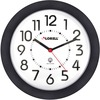 "Lorell 9"" Radio Controlled Profile Wall Clock - Analog - Quartz - White Main Dial - Black/Plastic Case"