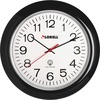 "Lorell 13-1/4"" Radio Controlled Wall Clock - Analog - Quartz - White Main Dial - Black/Plastic Case"