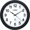 "Lorell 12"" Round Radio Controlled Wall Clock - Analog - Quartz - White Main Dial - Black/Plastic Case"
