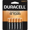 Duracell Coppertop Alkaline AAA Battery - MN2400 - For Multipurpose - AAA - 1.5 V DC - Alkaline - 10 / Pack