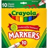 Crayola Classic Colors Broad Line Markers - Brown, Purple, Red, Orange, Yellow, Green, Black, Gray, Pink, Blue - 10 / Set