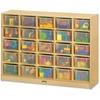 "Jonti-Craft Rainbow Accents 25 Cubbie-trays Mobile Storage Unit - 35.5"" Height x 48"" Width x 15"" Depth - Durable - Baltic, Clear Bin - Acrylic, Rubber"