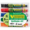 Pilot BeGreen Refillable VBoard Dry-erase Marker - Broad Marker Point - Chisel Marker Point Style - Refillable - Orange, Green, Blue, Black, Red - 5 /