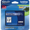 """Brother P-touch TZe Laminated Tape Cartridges - 1/2"""" - Black, Clear - 1 Each"""