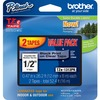 "Brother 1/2"" Black/Clear Laminated TZe Tape Value Pack - 1/2"" Width x 26 1/5 ft Length - Black, Clear - 2 / Pack"