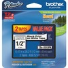 "Brother 1/2"" Black/White TZe Laminated Tape Value Pack - 1/2"" Width x 26 1/5 ft Length - Black, White - 2 / Pack"