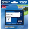 "Brother P-touch TZe 1"" Laminated Tape Cartridge - 15/16"" Width x 26 1/4 ft Length - Rectangle - Thermal Transfer - White - 1 Each"