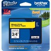 "Brother P-Touch TZe Flat Surface Laminated Tape - 45/64"" Width x 26 1/5 ft Length - Rectangle - Yellow - 1 / Each"