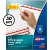 "Avery® Print & Apply Clear Label Dividers - Index Maker Easy Apply Label Strip - 400 x Divider(s) - 8 Tab(s) - 8 Tab(s)/Set - 8.5"" Divider Width x"