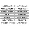 "Pacon Presentation Board Subtitles - ""ABSTRACT"", ""APPLICATIONS"", ""CONCLUSION"", ""DATA"", ""GRAPH"", ""HYPOTHESIS"", ""INTRODUCTION"", ""MATERIALS"", ""PROBLEM"","