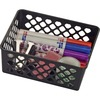 "OIC Plastic Supply Basket - 2.4"" Height x 6.1"" Width x 5"" Depth - Black - Plastic"