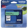 """Brother P-Touch TZe Flat Surface Laminated Tape - 45/64"""" - Permanent Adhesive - Thermal Transfer, Direct Thermal - Green, Black - 1 Each"""