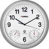 Lorell Analog Temperature/Humidity Wall Clock - Analog - White Main Dial - Silver/Plastic Case