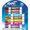 Expo Low Odor Markers - Chisel Marker Point Style - Red, Brown, Orange, Yellow, Green, Blue, Pink, Black - 12 / Set